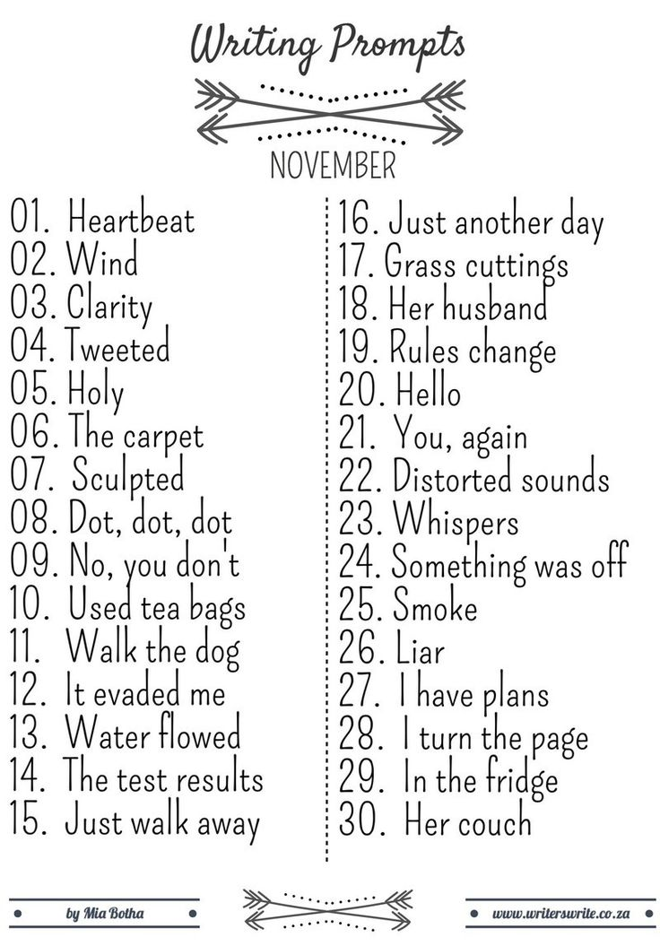 November Writing Prompts - Writers Write