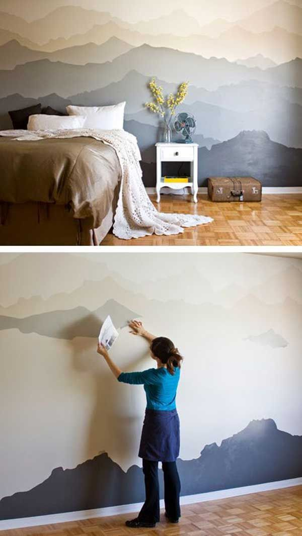 26 DIY Cool And No-Money Decorating Ideas for Your Wall - DIY mountain bedroom mural.