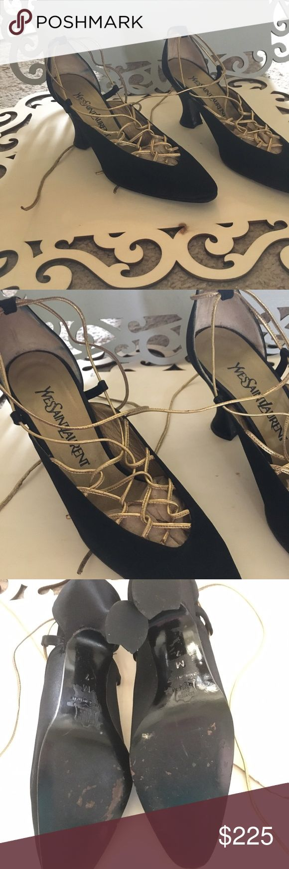 YSL Heels Black & Gold Yves Saint Laurent Heels with Wrap Around Tie 👠Worn with Love. Says M (7) on bottom of heel Yves Saint Laurent Shoes Heels