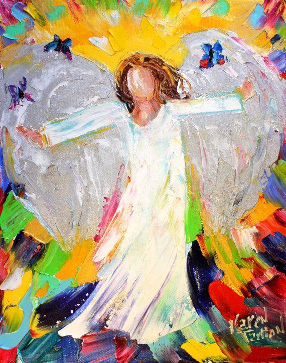 Original oil painting #Angel and Butterflies by Karensfineart