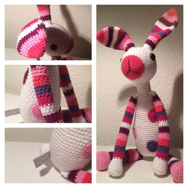 ❤️ Made by Sa'Sa - Opdracht: Konijn Snuf in roze kleurtje voor een 2-jarig dametje.  Patroon van Stip en Haak.