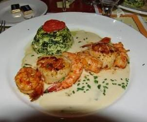 Shrimp and Scallops with Spinach Flan Recipe served at Les Chefs de France in EPCOT at Disney World