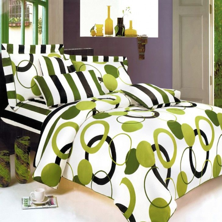 Modern Bedroom With Lime Green Black White Bedding Twin Comforter Set And Geo Circle Stripe Pattern Duvet Cove
