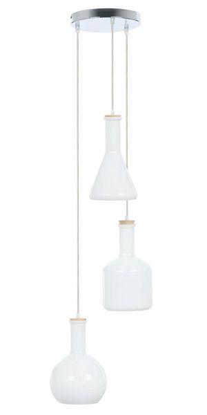 Lampa Wisząca Bottles Iii Biała Butelki 36cm Lampy Sufitowe
