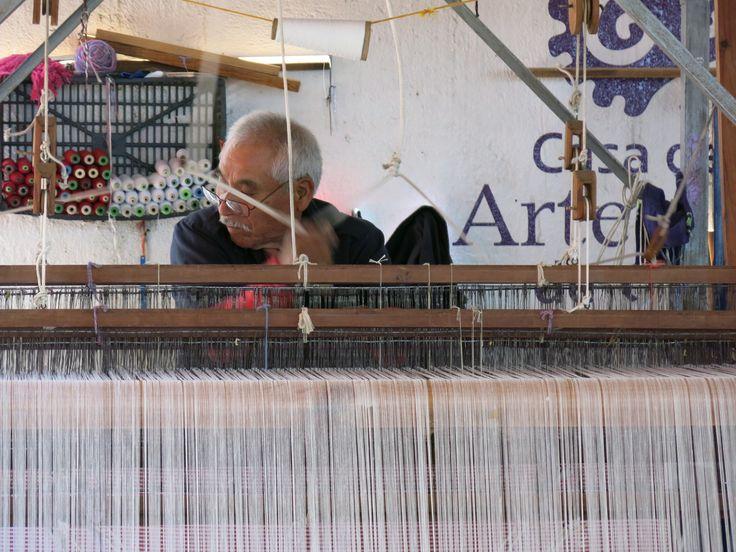 Carpet weaving. Oaxaca City, Mexico.