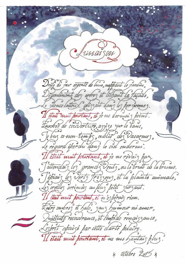 « Lunaison »,  poésie, calligraphie, encre chine, lune, aquarelle, noir et rouge