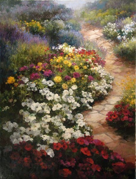 """""""Walkway in Bloom"""" Artist Paul Guy Gantner - Original Oil Paintings"""