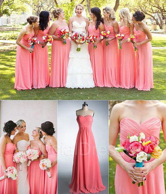 Elegant Coral A-line Sweetheart Neckline Sweep Train Bridesmaid Dress