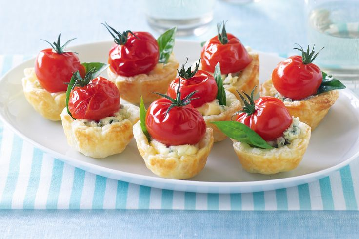 These little pastry cups with tangy blue cheese and sweet, vine-ripened cherry truss tomatoes are perfect party food.