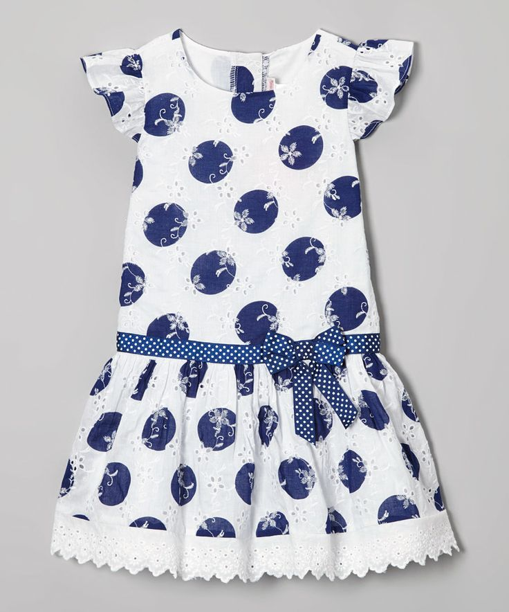 Look what I found on #zulily! Youngland Navy & White Polka Dot Eyelet Dress - Toddler & Girls by Youngland #zulilyfinds
