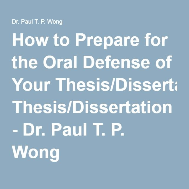 What is oral defense of the dissertation