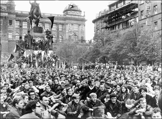 Prague Spring. Waclawske Namesti. August 1968