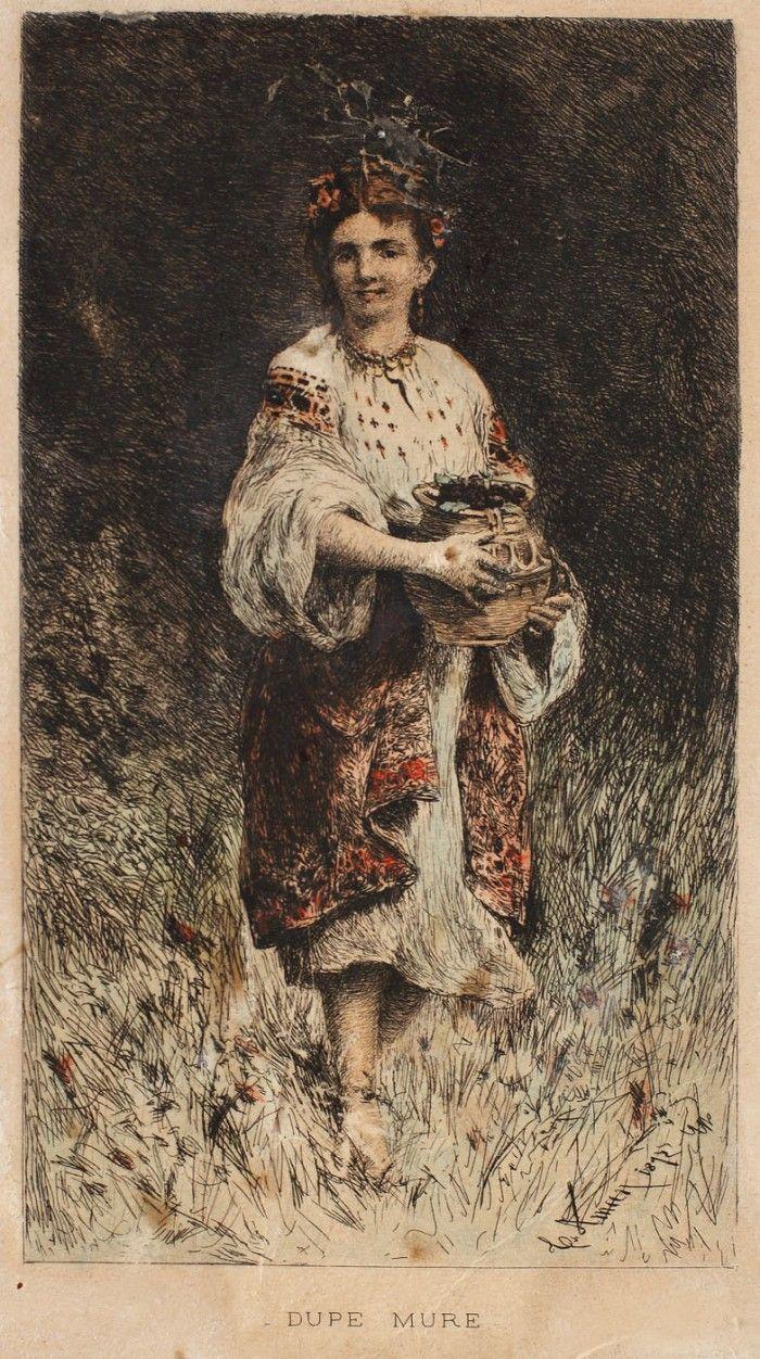 """Theodor Aman, După mure - Licitația Vechi Maeștri ai Picturii Românești acvaforte colorată şi gravură cu ac, 19,5 × 11 cm, semnat şi datat dreapta jos, în placă, """"Th. Aman, 1875"""""""