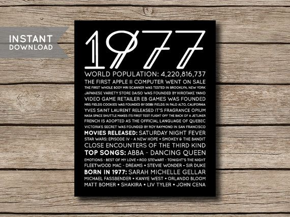 INSTANT DOWNLOAD - 1977 - Printable 40th Birthday or Anniversary Facts & Trivia Print Poster - Digital File -------------------- This listing is for a digital file that you can print yourself or have printed at a printing/photo printing store. You will receive the poster in 4 sizes: - 8 x 10 inches - 16 x 20 inches - A4 (210 x 297 mm) - A2 (420 x 594 mm) All files are high resolution 300 DPI - JPG files. If you need the files in PDF format, send me a message after you purchase &a...