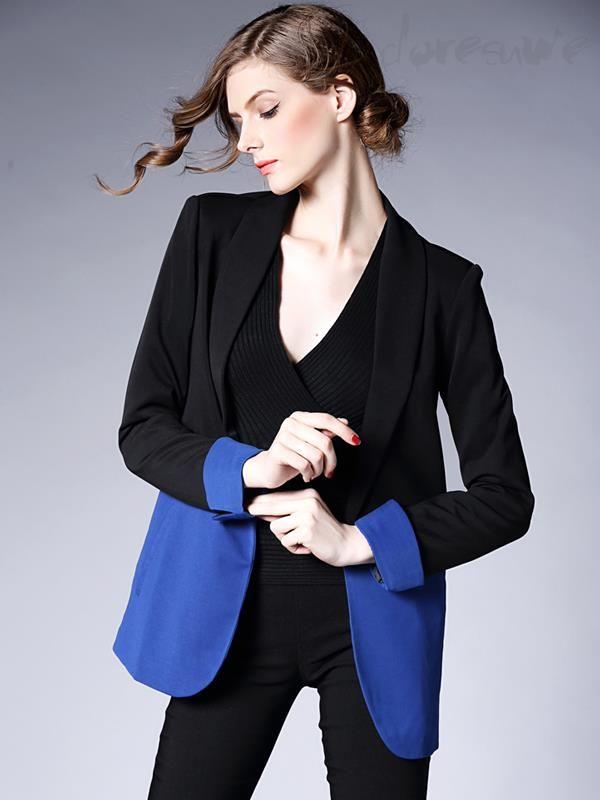 Doresuwe.com SUPPLIES 欧米セレブ愛用新品 2015秋 大物 靑黒い切替 着やせ スーツコート スーツ