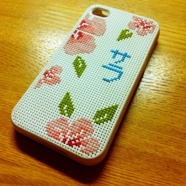 Phone case I cross stitched. Pattern is based off one I saw online. The Japanese characters are my name.