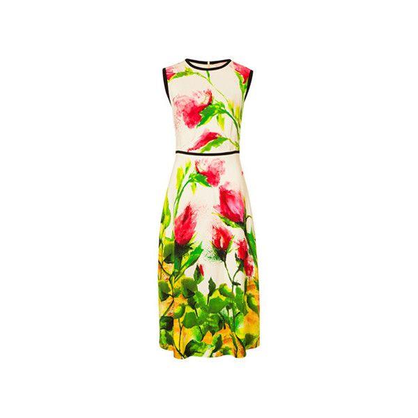 ESCADA Dress Djanetu ($798) ❤ liked on Polyvore featuring dresses, evening dresses, rose cocktail dress, holiday dresses, escada dresses and round neck dress