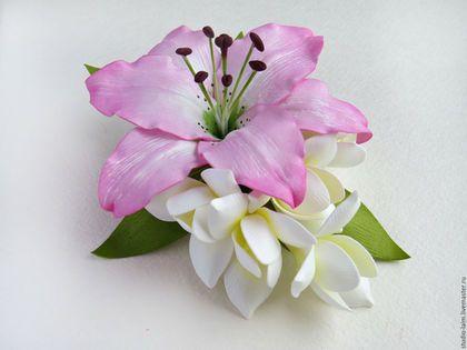 Заколки ручной работы. Заказать Заколка зажим для волос с цветами из фоамирана Розовая лилия. Любовь Амосова Оранжерея цветов. Ярмарка Мастеров.