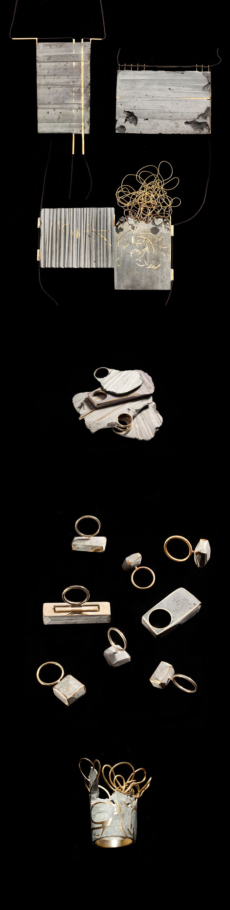 Noy Alon - Hand crafted pieces defining new boundaries between jewelry and objects, made of gold plated brass and polymer.