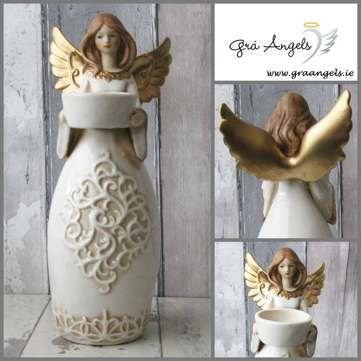 This is a beautiful golden winged Angel candle holder. This Angel candle holder is made from porcelain and has a beautiful Celtic design on her dress. Each Angel is hand painted with gold detail on her wings and on her dress.   The Angel is 10cm in height and 4cm in width.  http://graangels.ie/celtic-golden-winged-angel