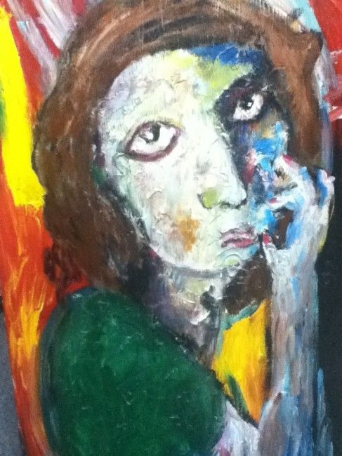"""James Picard - Woman in Green Sweater. Acrylic on Canvas. 23.75"""" x 38.75"""""""