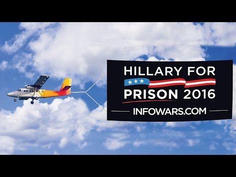"INFOWARS Plane seen Flying ""Hillary for Prison 2016"" Banner over RNC Cleveland, Ohio (7-16-16) - YouTube"