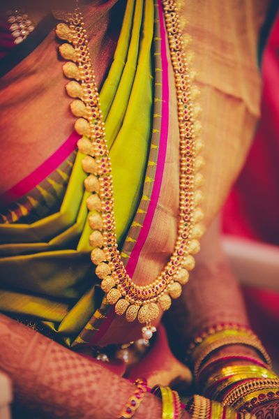 Kasu Haram with Matching Bangles and Silk Saree