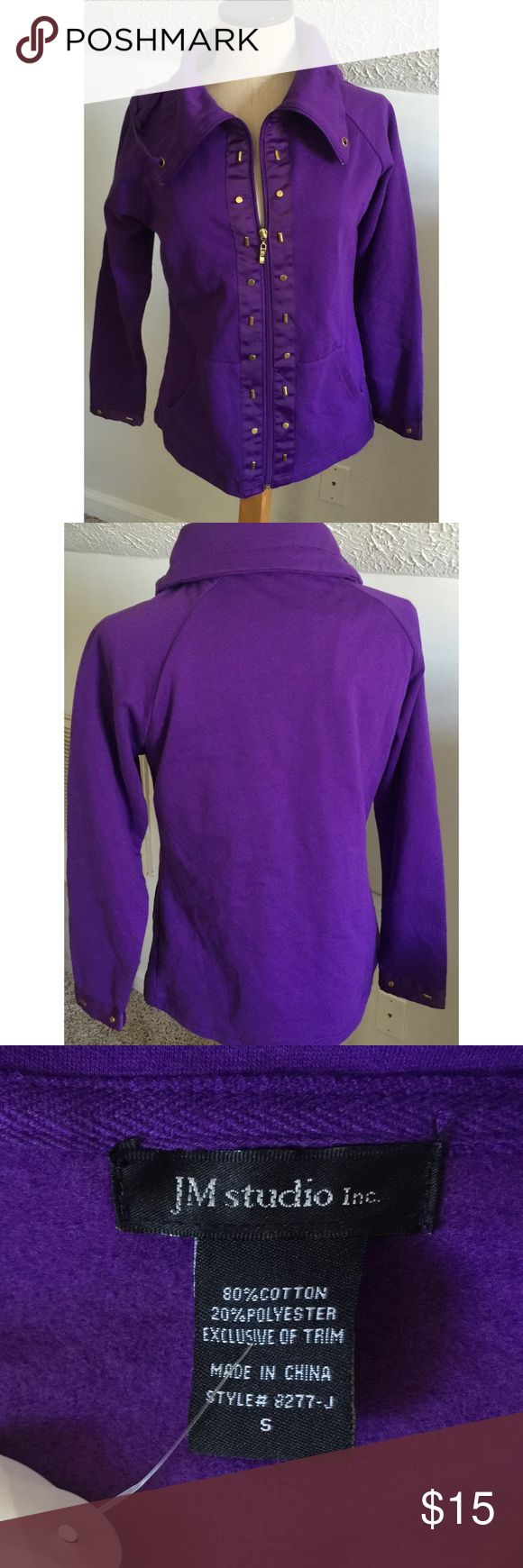 NWT purple zip sweater jacket sz S women's Zips up, has a cord around good area but needs to be redone bc it seems to only be coming out of one side (see last photo).  Otherwise this is an awesome find, it is high quality, warm, thick, pretty details on front as well as sleeves. J.M Studio Sweaters Cardigans