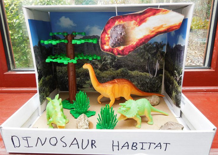 Dinosaur Habitat - How to make shoebox 3D scenes.