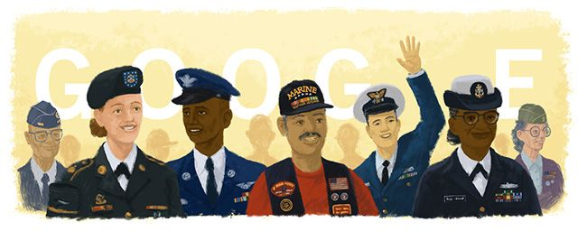 Today on the Google home page is a special Veterans Day Logo, Doodle, for Veterans Day.  But if you look closely, Google has a bug or mistake with the logo.    The Coast Guardsman, the third from right...