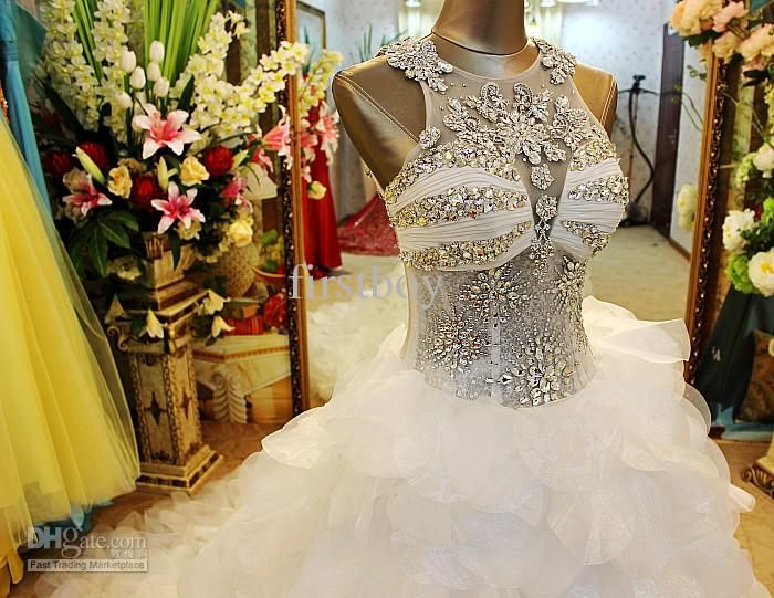jewel bling bling bodices a line of wedding dresses lotus leaves the train
