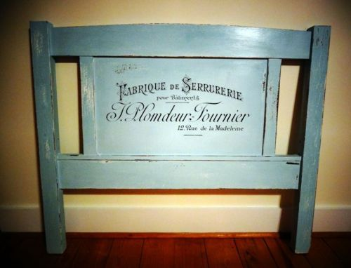 Shabby Chic French type handpainted Chalk paint Robins Egg Blue TWIN Headboard