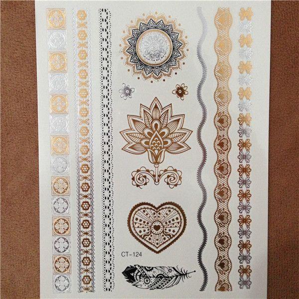 Corps art peinture tatouage stickers glitter or temporaire flash tatoo Jetables indiens de tatouage pour les femmes tatouages idées