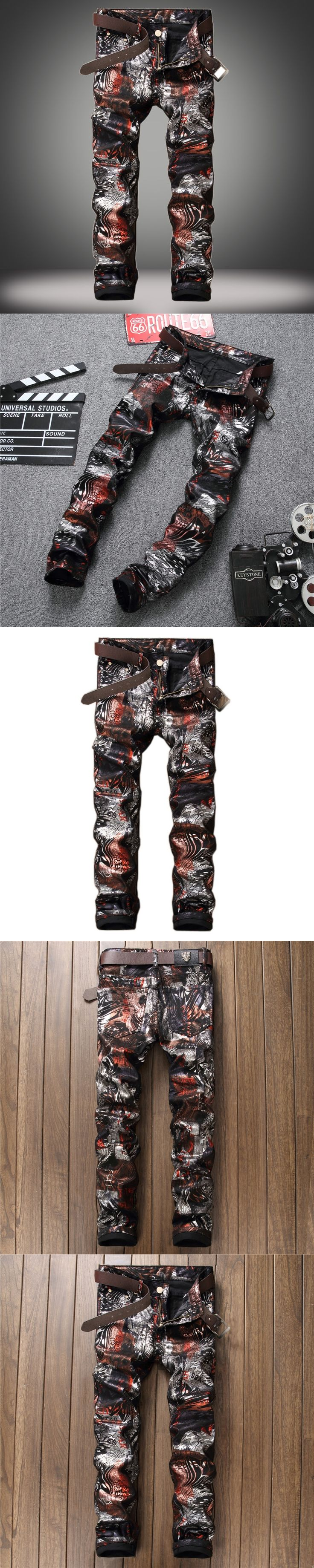 Hot Fashion Mens Ripped Biker Jeans Print Slim Fit Motorcycle Jeans Men's Skinny Denim Causal Jeans Pants Trouses Size 29-38