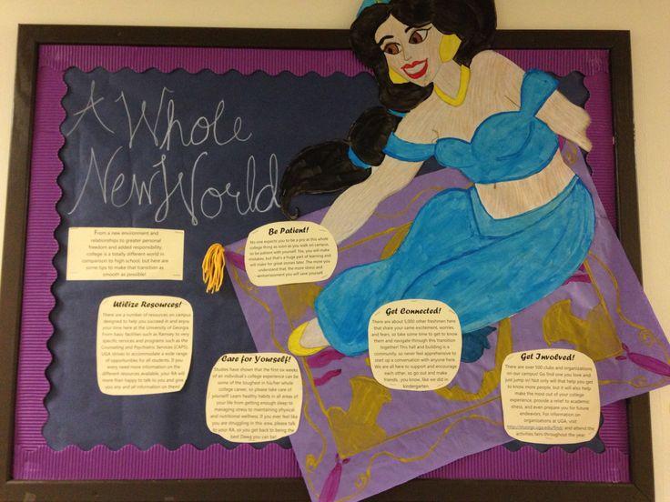 """A Whole New World"" bulletin board for freshman residents on my Aladdin-themed hall. -Hannah Boyd UGA"