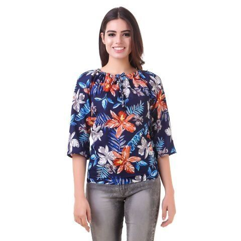 359097e6a8249a Buy Delux Look Women s Crepe Floral Print Top Online at Low prices in India  on Winsant