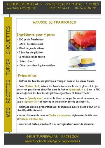 Tupperware - Mousse aux framboises