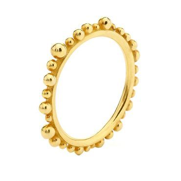 Βεράκι δαχτυλίδι Huffy Κ9 από κίτρινο χρυσό με συνεχόμενες ασύμμετρες μπίλιες περιμετρικά της γάμπας | Δαχτυλίδια ΤΣΑΛΔΑΡΗΣ στο Χαλάνδρι #δαχτυλιδι #huffy #επιχρυσο #μπιλιες