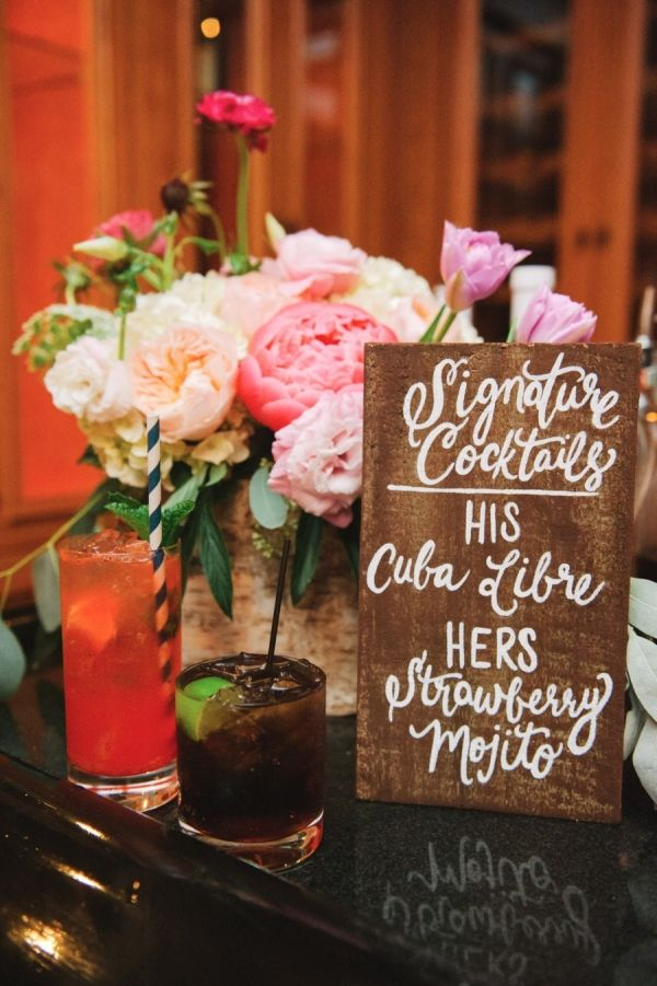 Showcase your signature cocktail offerings in rustic-chic style with this handmade salvaged sign. The size, design, and color are completely customizable.