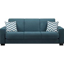need a couch that is wide enough for two to spoon and long enough. Fabric. Flat arms which allows a table arm on it. can confer into a bed Wayfair