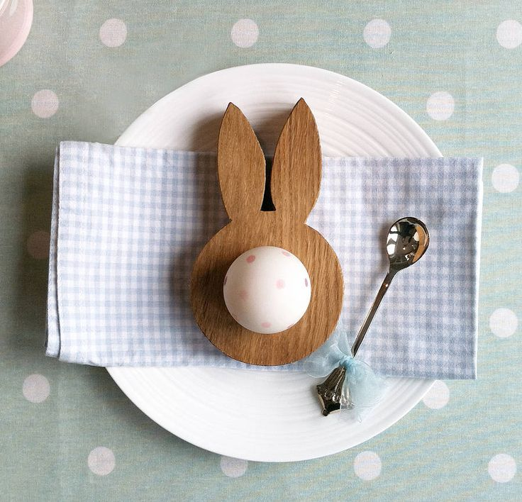 A bunny ears egg cup place-setting for Easter. Sure to put a smile on any child's face, even on the earliest of mornings!
