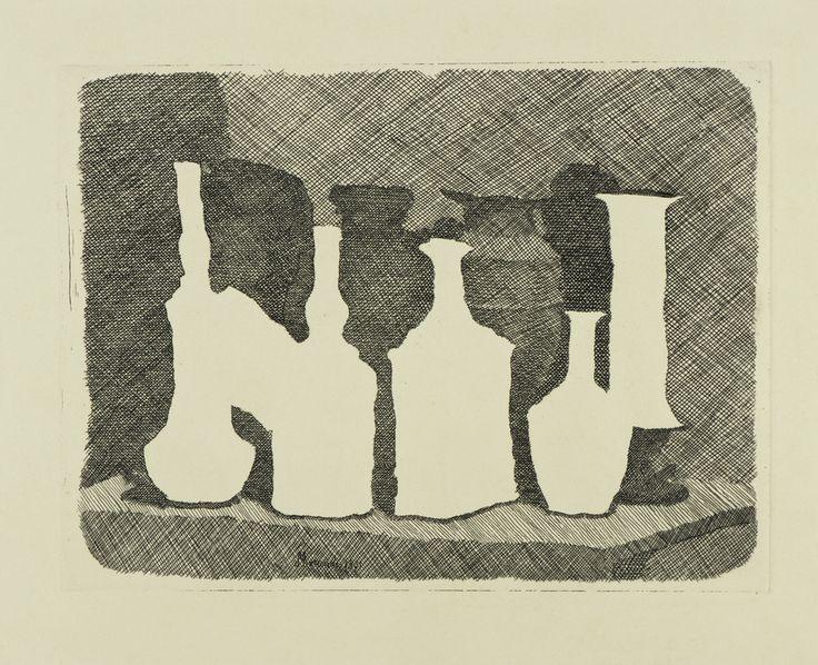 Giorgio Morandi - Natura morta di vasi su un tavolo - 1931 - Collezione privata