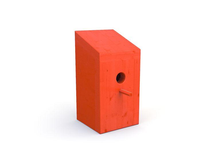 Zittel vogelhuisje rood.  Helemaal in de trend van de 'small house movement' het Zittel vogelhuisje. Zelfs de vogels worden er vrolijk van.