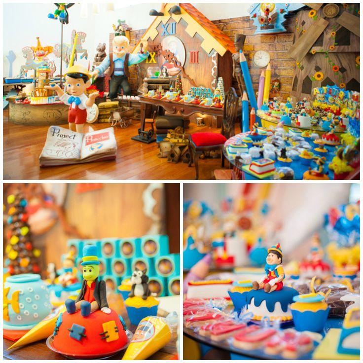 Festa infantil tema Pinóquio em decoração clássica - Fotos: Bia Backer