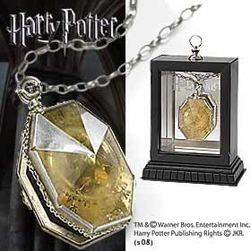 The Locket From The Cave Locket from Harry Potter and The Half Blood Prince. It is made by Noble Collection.  http://harry-potter.minimodelfilmstuff.co.uk/harry-potter-collectable/harry-potter-and-the-half-blood-prince-the-locket-from-the-cave-locket-noble-collection-nn8133 Authentic prop replica of the Locket found in the cave by Dumbledore - comes with custom display case....