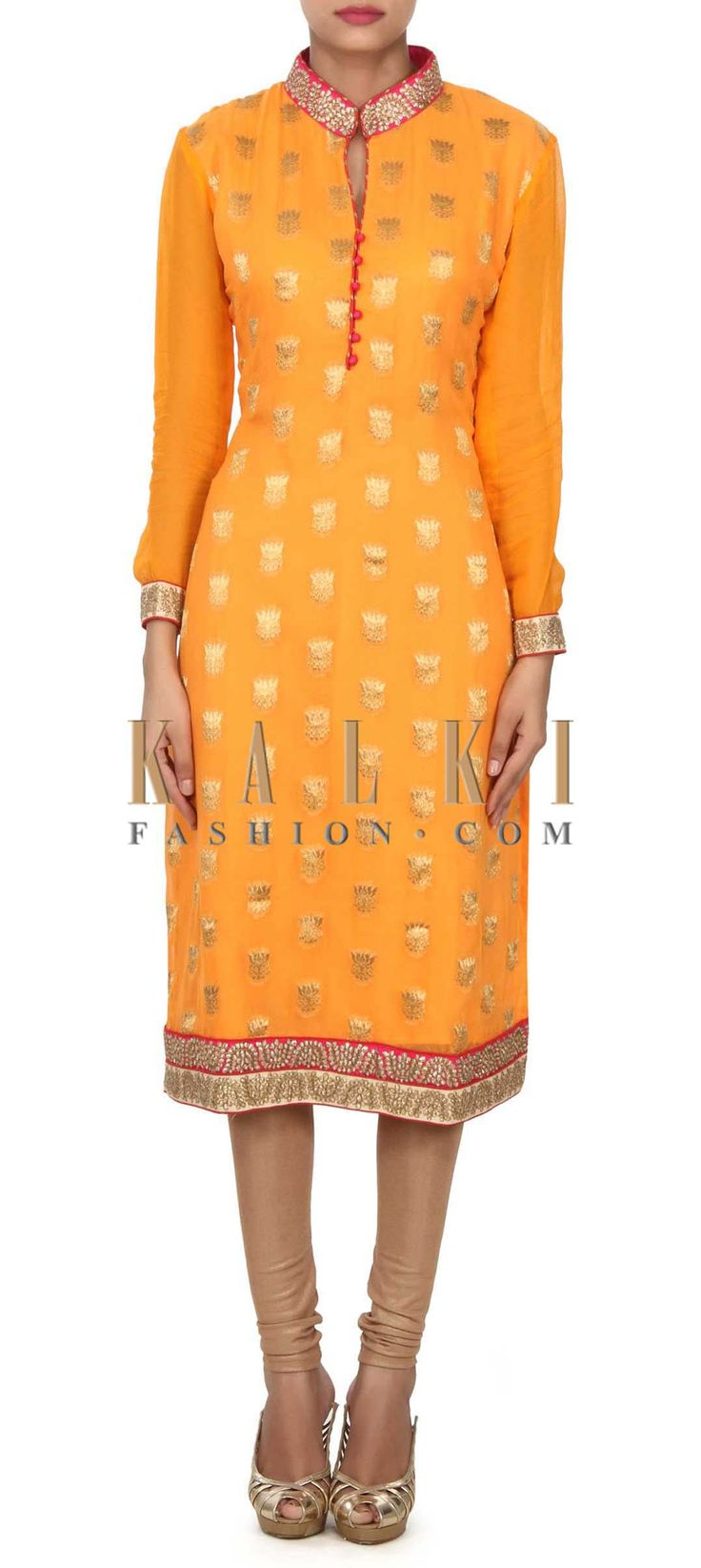 Buy this Flame orange kurti features with embellished collar only on Kalki