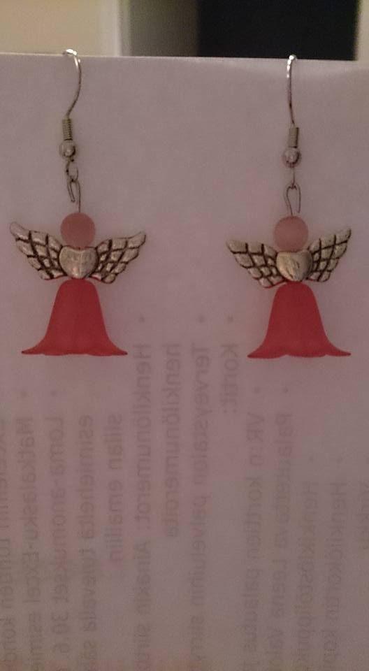 Pink flower dress Angel earrings