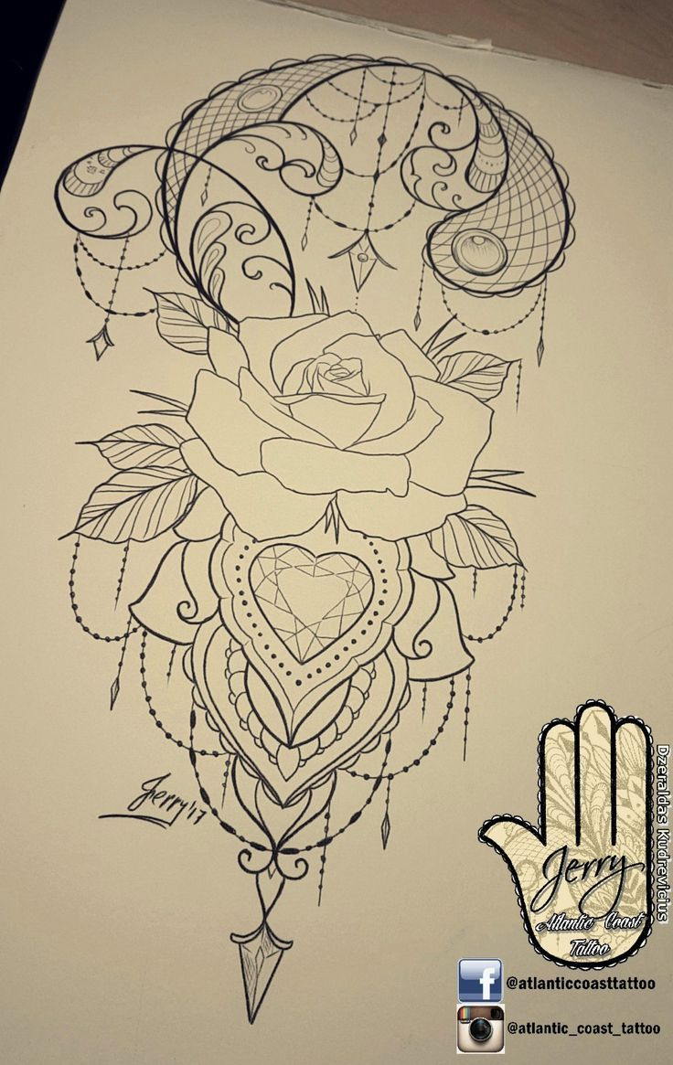 Beautiful tattoo idea design for a thigh arm by dzeraldas jerry kudrevicius from Atlantic Coast tattoo. Rose flower tattoo design with pretty patterns mandala style design ornamental drawing tattoo idea