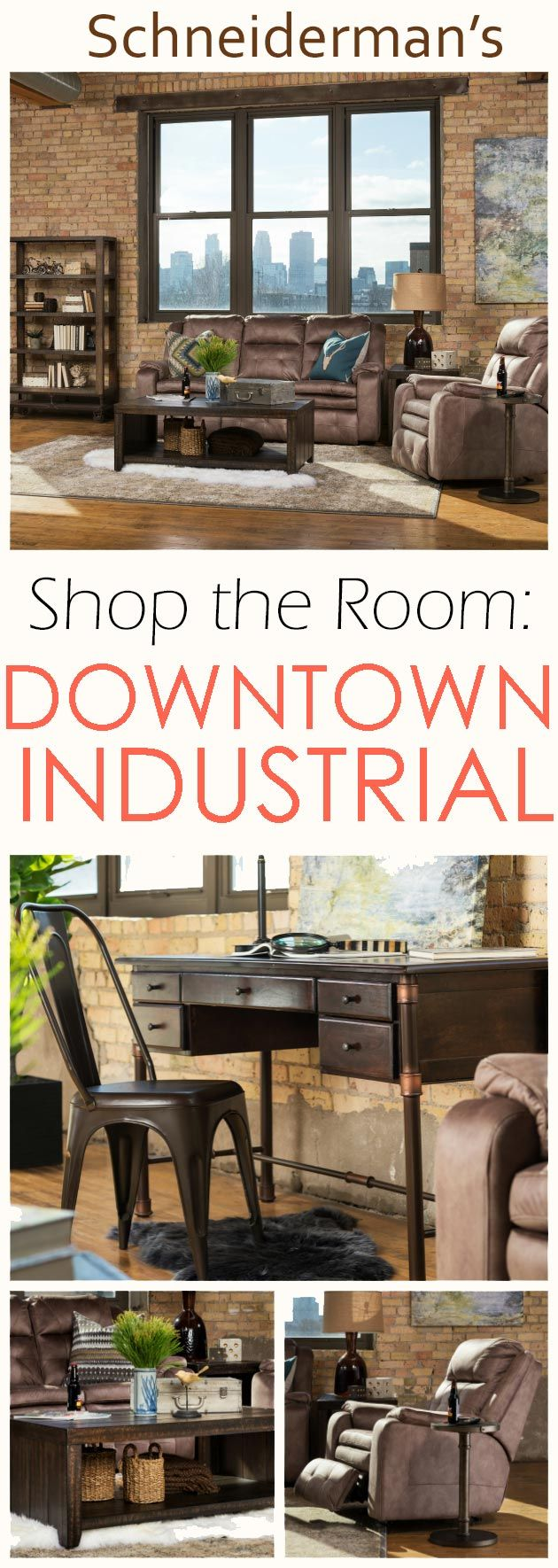 Inspired by the Minneapolis skyline, the Downtown Industrial living room features neutral upholstered reclining seating with distressed wood and metal occasional tables. A dark bronze pharmacy-style desk lamp lights a work space and sits upon a unique wood and metal pipe desk. A metal chair and open back bookcase with industrial wheels completes the work space while complementing the living room. Accessorized with canvas artwork, a large area rug, contrasting pillows, and more.