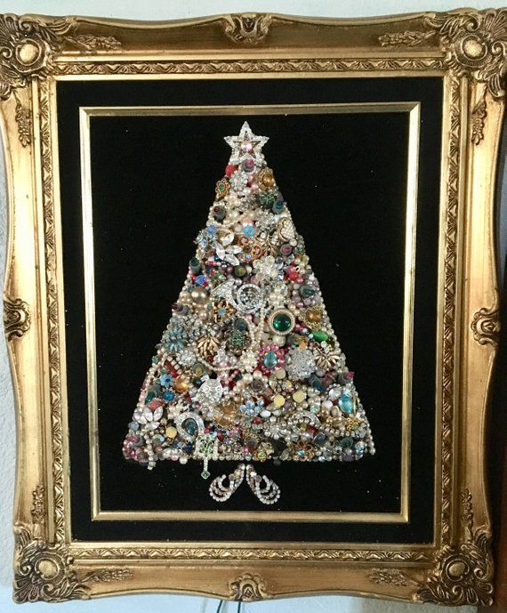 Vintage Costume Jewelry Christmas Tree In Frame 16x19 Christmas